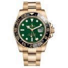 Replica Rolex GMT Master II Yellow Gold Green Dial watch 116718 G