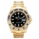 Replica Rolex GMT Master II Yellow Gold Black Dial watch 116758 SA