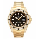 Replica Rolex GMT Master II Yellow Gold Black Dial watch 116758 SANR