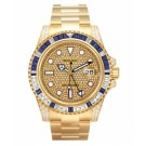 Replica Rolex GMT Master II Yellow Gold Pave diamond dial watch 116758 SAPAVE