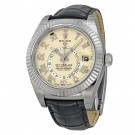 Replica Rolex Sky Dweller Ivory Dial Black Leather 326139IVRL