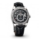Replica Rolex Sky Dweller Black Dial Black Leather 326139