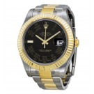 Replica Rolex Datejust II Black Roman Dial 18k Yellow Gold Fluted Bezel 116333BKRO