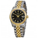 imitation Rolex Datejust Black Dial Automatic Stainless Steel and 18kt Gold 178243BKSJ