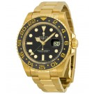 Replica Rolex GMT Master II Black Dial Oyster Bracelet 18kt Yellow Gold 116718BKSO