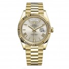 Replica Rolex Day-Date 40 Automatic Silver Dial 18kt Yellow Gold