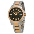 Longines Conquest Automatic Black Dial Rose Gold and Stainless Steel Mens Watch L3.676.5.56.7 Replica